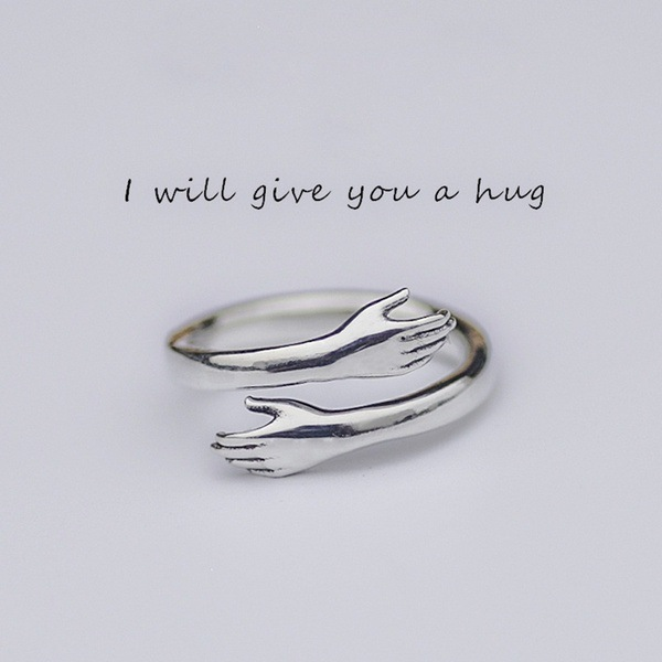 New Unisex Rings Arm Hug Open Couple Ring Retro Fashion Tide Flow Open Ring Gift Fashion Jewelry