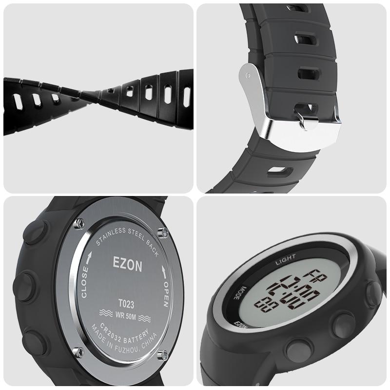 Saatler'ten Dijital Saatler'de Dijital spor izle erkek açık koşu pedometre ve çok fonksiyonlu çalar saat kronometre su geçirmez 50M EZON T023C11'da  Grup 3