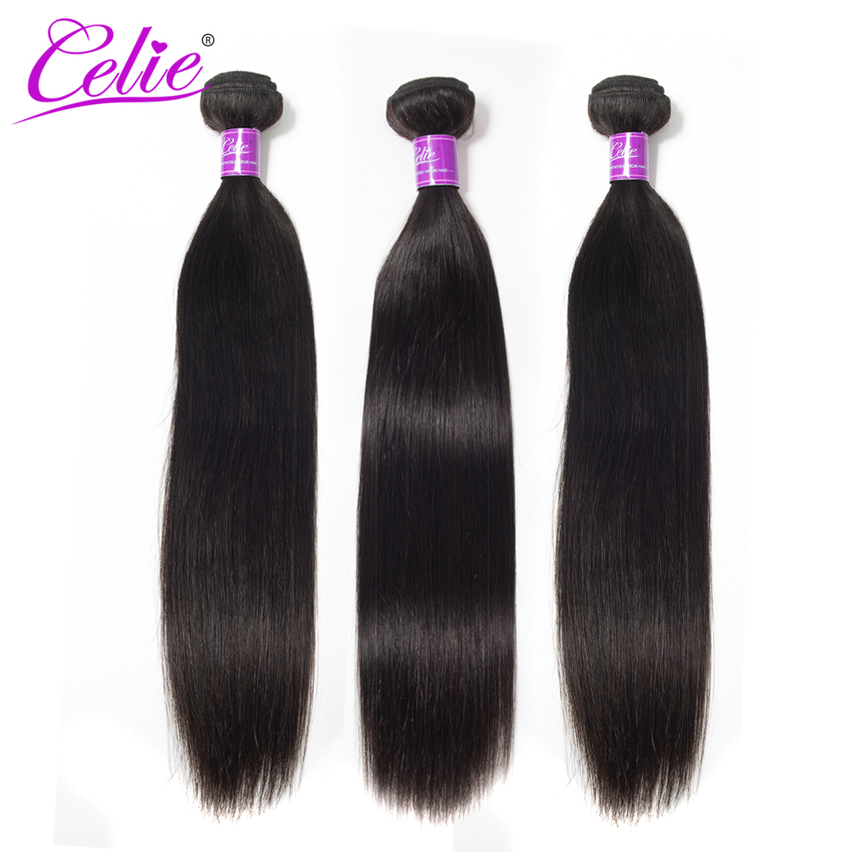 Celie Hair Straight Brazilian Hair Weave Bundles 10-30 Inch Brazilian Hair Extensions Bundle Deals 100% Remy Human Hair Bundles