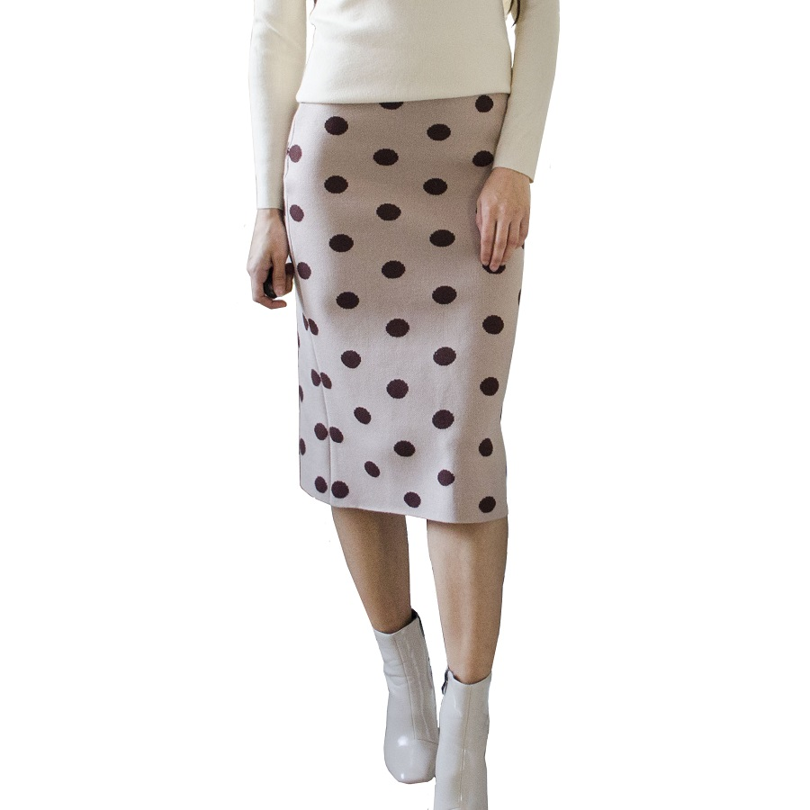 Ladies Elastic Sexy Women Skirts Autumn Winter Warm Soft Knitted Straight Skirt Women Bodycon Long Polka Dot Pencil Skirt Female