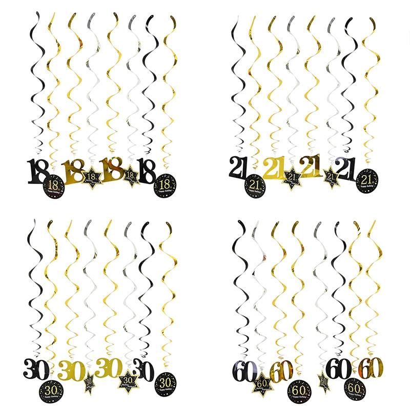 8 pièces/ensemble 18 21 30 40 50 60 spirale suspendus ornement joyeux anniversaire tourbillon anniversaire années décorations de fête danniversaire
