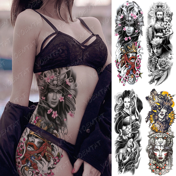 Large Arm Sleeve Tattoo Japan Samurai Waterproof Temporary Tatto Sticker Geisha Waist Leg Body Art Full Fake Tatoo Women Men