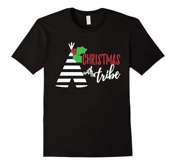 Camisas de Navidad de la familia a juego camiseta de la tribu de la Navidad de los hombres Casual de manga corta Camisetas de diferentes colores de alta calidad 100%