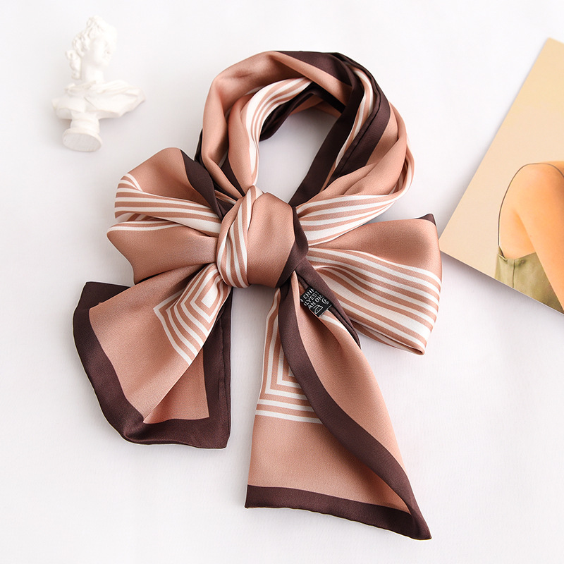 Korean Stripe Professional Decoration Scarf Women's Fashion Ribbon Simulation Silk Thin And Long Scarf Binding Hair Band