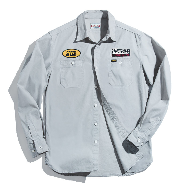 2020 New Men's Cotton Jacket Retro Gas Station Embroidered Shirt Autumn Slim Embroidered Long Sleeve Jacket