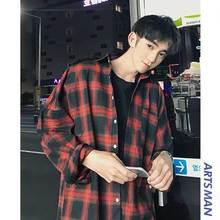 Клетчатая рубашка, Мужская блузка с длинным рукавом, повседневная, винтажная, свободная, осенняя, Мужская блузка, черный, белый цвет, модное пальто, Корейская новинка, Camisa Masculina