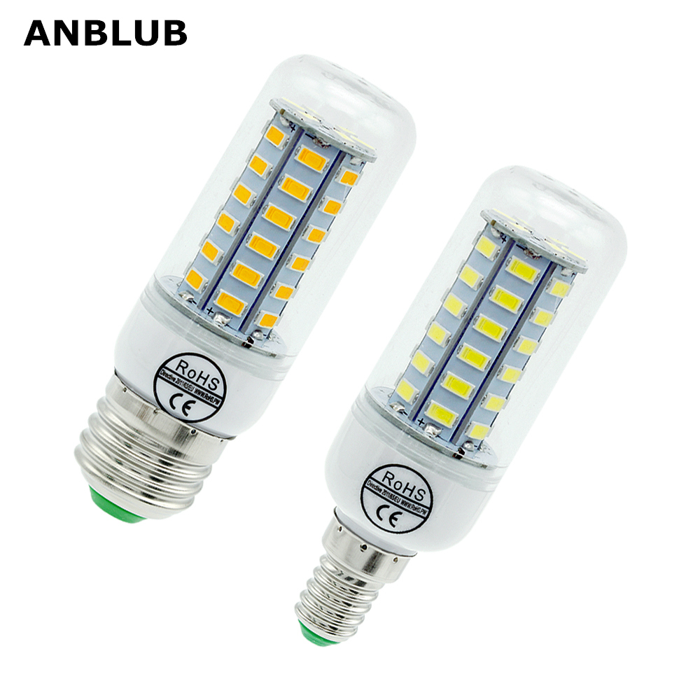 ANBLUB E27 LED Lamp E14 LED Corn Bulb SMD 5730 220V 24 36 48 56 69 72LEDs Chandelier Candle Light For Home Lighting Decoration