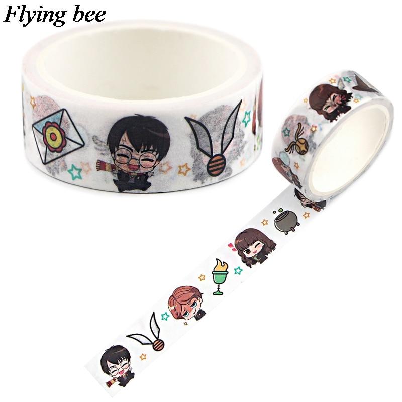 20pcs/lot Flyingbee 15mmX5m Fashion Washi Tape Paper DIY Decorative Adhesive Tape Stationery Cool Masking Tapes Supplies X0776
