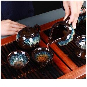 Image 2 - Çin Kung Fu çay seti seramik sır çaydanlık çay fincanı Gaiwan porselen Teaset ısıtıcılar Teaware setleri Drinkware çin çay töreni