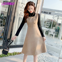 2019 autumn and winter models Japanese style deerskin dress + knit top suit Turtleneck  Zipper Knee-Length