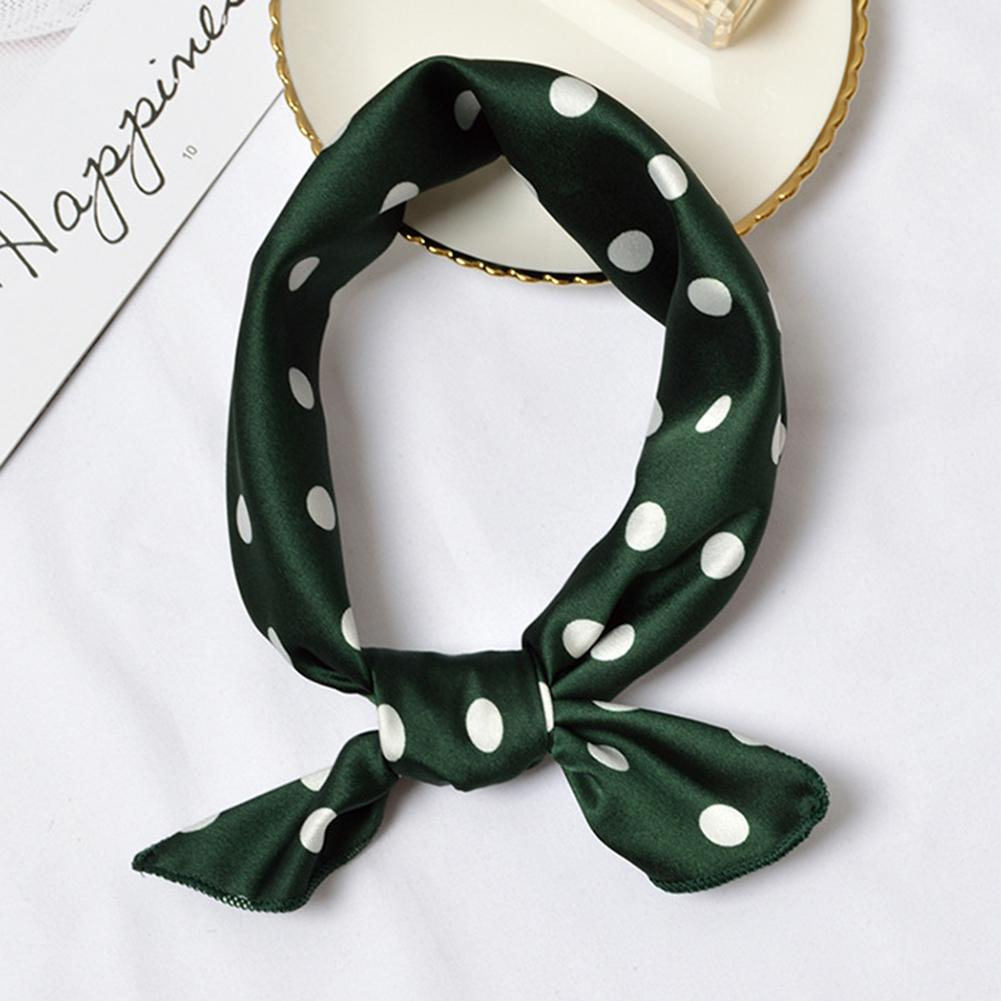 Szalik Square Scarf Women Polka Dot Satin Hair Tie Rope Scrunchies Silk Scarf Neckerchief Headscarf Elegant Small Vintage платок