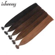 цена на Isheeny 14-22 Inch Micro Ring Remy Human Hair Extensions Straight Black European Nano Ring Hair Extension Pre Bonding 100pcs