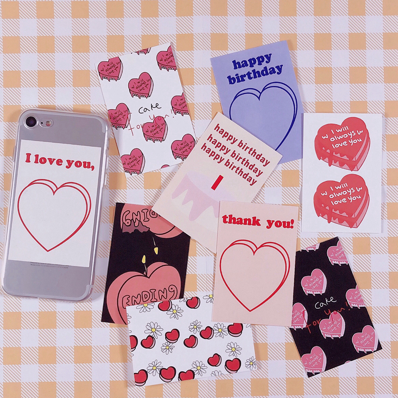 9Pcs/set 6*9cm Korean Cartoon Heart Cake Love Birthday INS Album HD Photo Card Self Adhesive Stickers Photocard