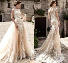Юбки цвета шампанского Свадебные платья из тюля Русалочка прозрачная