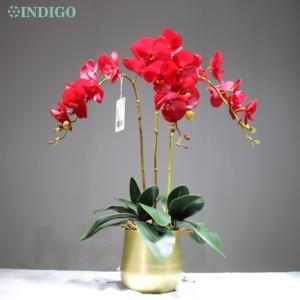 Image 4 - Witte Orchidee Bloem Arrangement 90Cm (3 Orchidee + 3 Blad + Pot Optioneel) real Touch Bloem Bruiloft Decoratie Event Bloemist