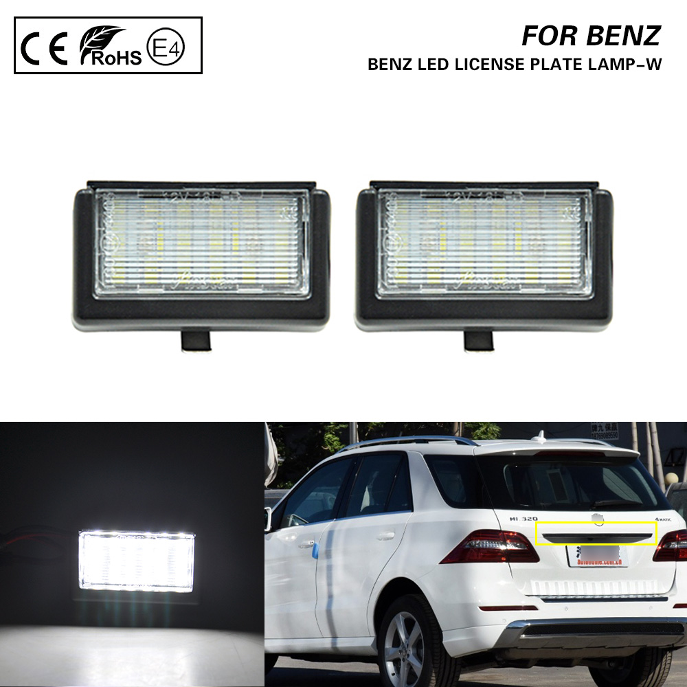 For Benz ML W164/X164X Smart Roadster 452 LED License Plate Light Car Accessories Number Lamps Plate Light Exterior 2PCS 12V
