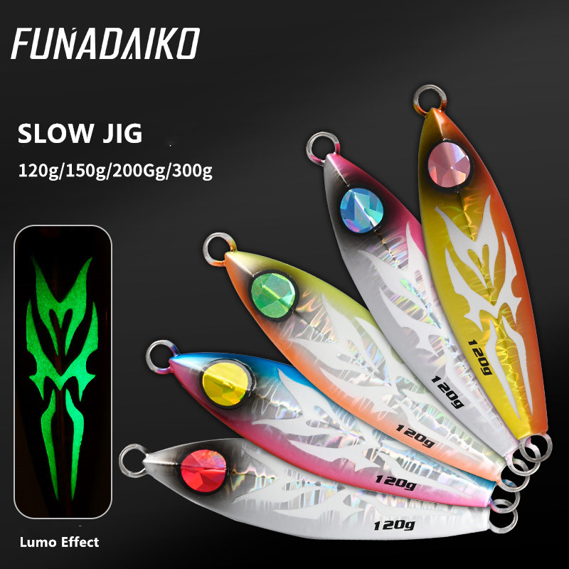 FUNADAIKO Seafishing slow jig lures luminous artificial matel bait 120g 150g 200g 300g boatfishing jigging lure fishing jig image