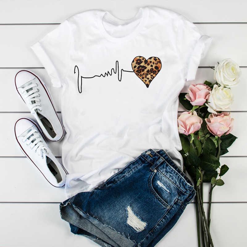 Camiseta das mulheres das mulheres das senhoras das roupas de impressão de manga curta do coração do leopardo