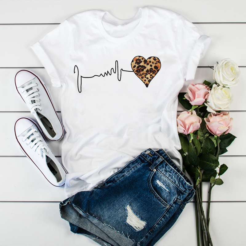 Women Leopard Heartbeat Short Sleeve Print Clothes Ladies Womens T-Shirt Graphic Tops Clothes Female Tumblr T Shirt T-shirts(China)