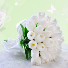 Kyunovia Artificial flower PU Real Touchable Tulips Wedding Decoration Bridal Bouquets White Pink Tulips Wedding bouquet GC39
