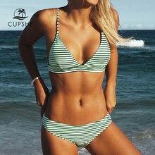 CUPSHE ירוק פס נמוך מותן ביקיני סטי נשים סקסי משולש תחבושת שתי חתיכות בגדי ים 2020 חוף בגד ים בגדי ים