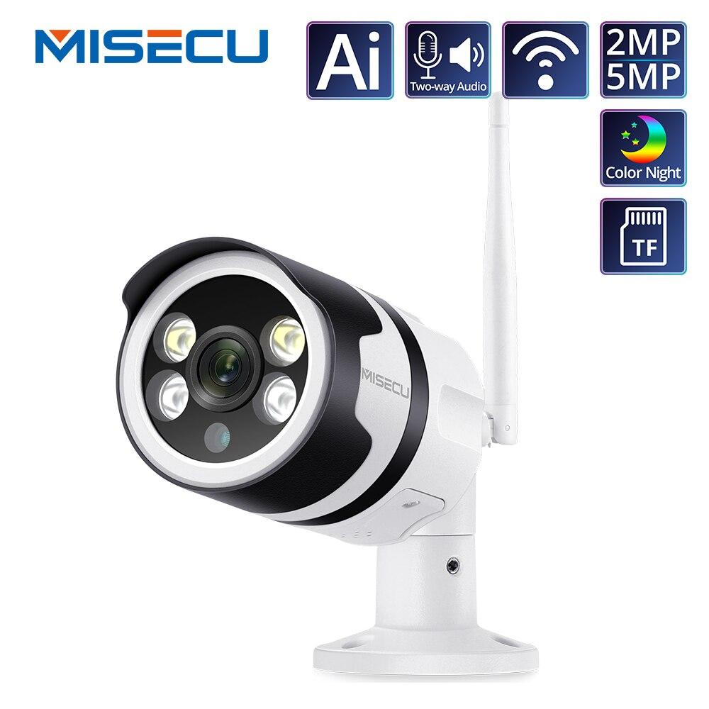 Misecu h.265 5.0mp 1080 p câmera ip sem fio em dois sentidos de áudio ao ar livre bala visão noturna p2p onvif segurança cctv wifi câmera metal