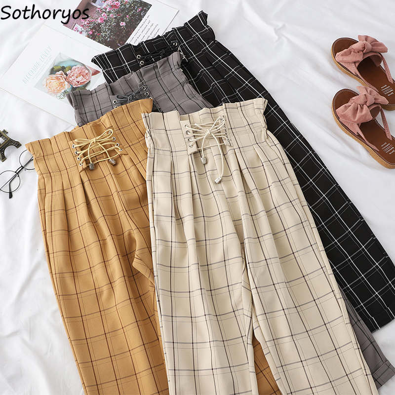 Women Pants Plaid Straight Elastic Pleated Waist Leisure Harajuku Students Retro Loose Ulzzang All-match Korean Style Streetwear