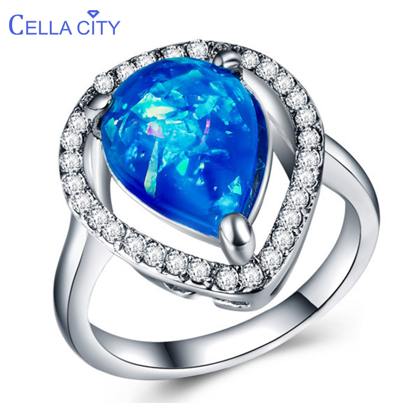 Cellacity Trendy Silver 925 Jewelry For Women Large Opal Ring Blue White Water Drop Shaped Gemstones Party Accessory Female Gift