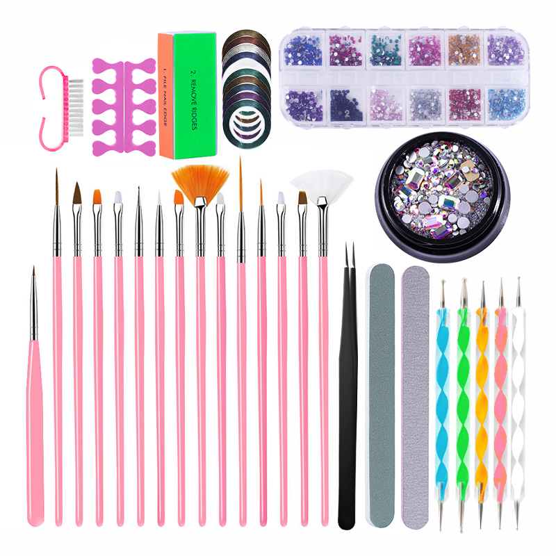 PRO Nail Set Manicure Set Strass Nail Rhinestones Tweezers Nail Buffer Blocks Files Dust Brush Dotting Pen Nail Tools Kit Design