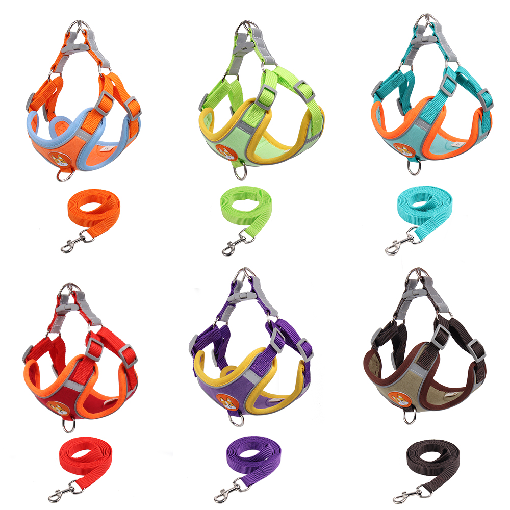 Suede Reflctive Adjustable Dog Harness And Leash Set Cat Vest Walking Lead Leash For Small Medium Chihuahu Puppy Pet Supplies 4