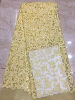 yellow Color Nigerian Lace Fabrics /Newest Embroidery Luxury French Tulle Lace With Many Sequins For Wedding Dress FFD-1016
