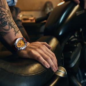 Image 4 - Jaragar الرياضة موضة تصميم هندسي مثلث حالة براون حزام من الجلد 3 الطلب الرجال مشاهدة العلامة التجارية الفاخرة ساعة أوتوماتيكية على مدار الساعة