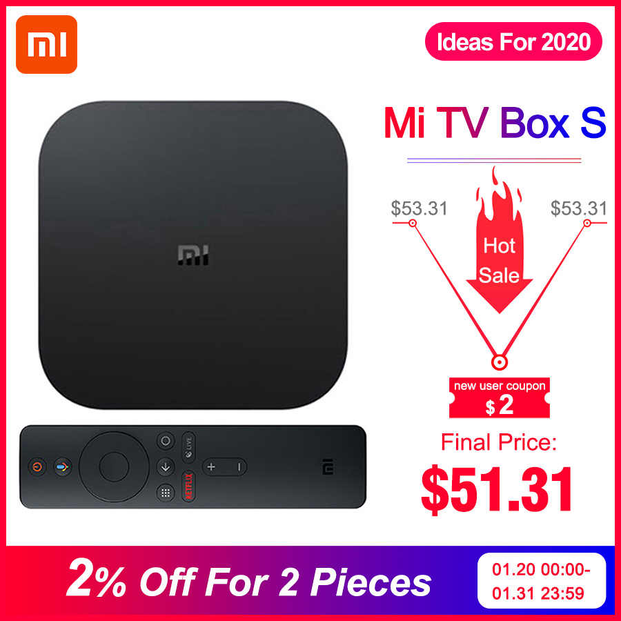 Global Asli Xiao Mi Mi Kotak S 4K HDR Android TV 8.1 Mi Kotak 2G 8G Wifi google Cast Netflix Set Top Mi Box 4 Media Player