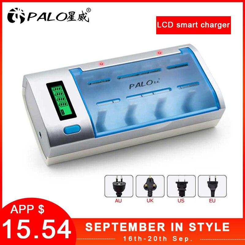 PALO 2019 Nieuwe Oplaadbare Lcd-scherm Smart Screen Batterij Lader Voor Ni-Mh NI-CD AA/AAA/C/D /9V Batterijen