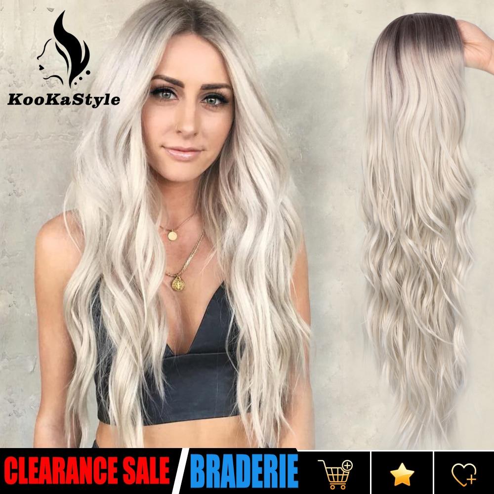 KooKaStyle Synthetische Perücken Lange Wellenförmige Perücken für Frauen Natürliche Teil Seite Perücke Hitze Beständig Party Haar Ombre Blonde Perücken Brizilan