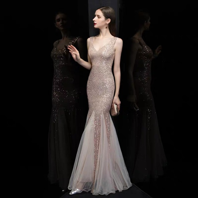 Plus Size V Neck Mermaid Cocktail Dress Long Formal Prom Party Gown Sequins Sleeveless Robe De Soriee Sexy Evening Vestido De 2