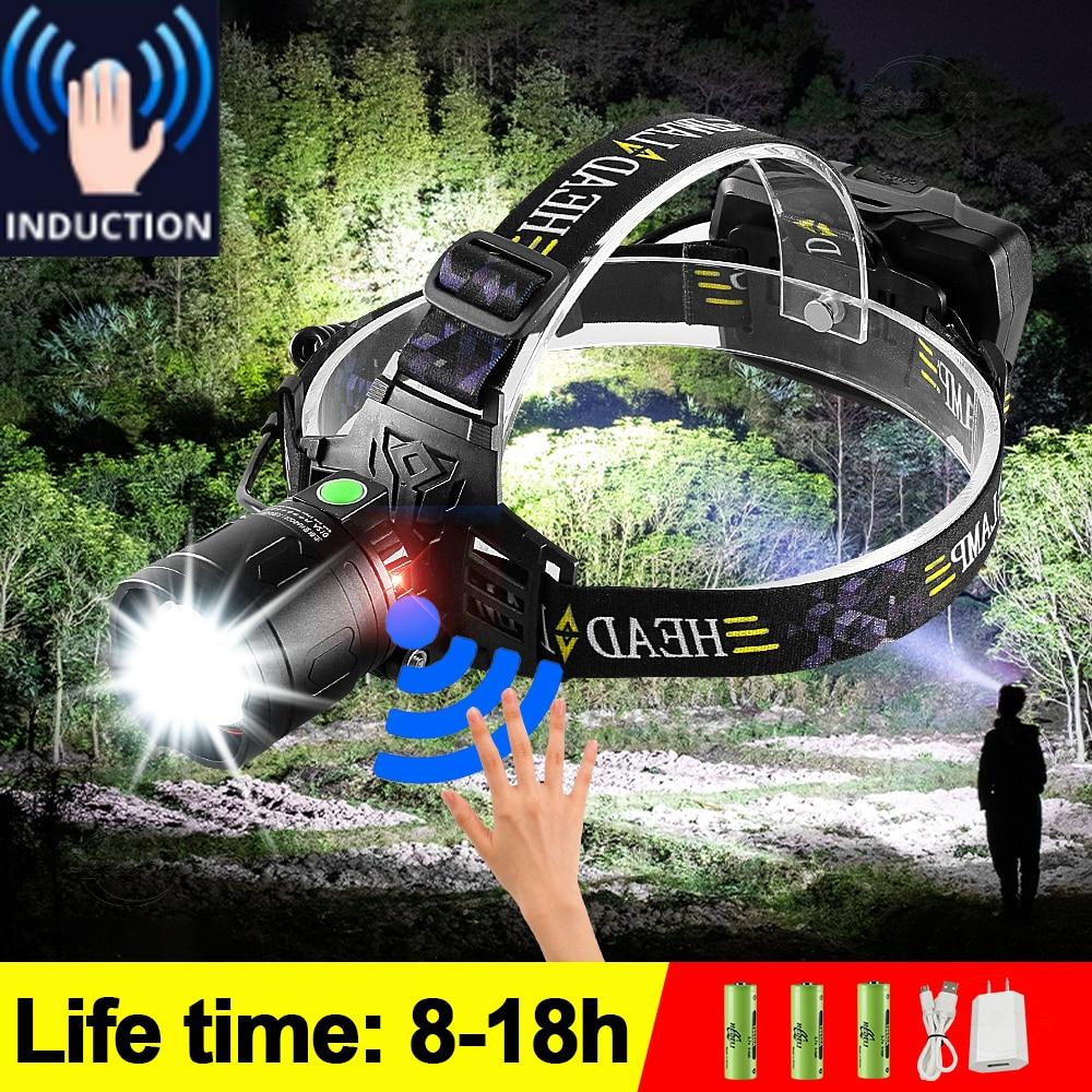 ИК Сенсор светодиодный налобный фонарь 18650 мощный головная лампа вспышка светильник Перезаряжаемые спереди светодиодный головной светиль...