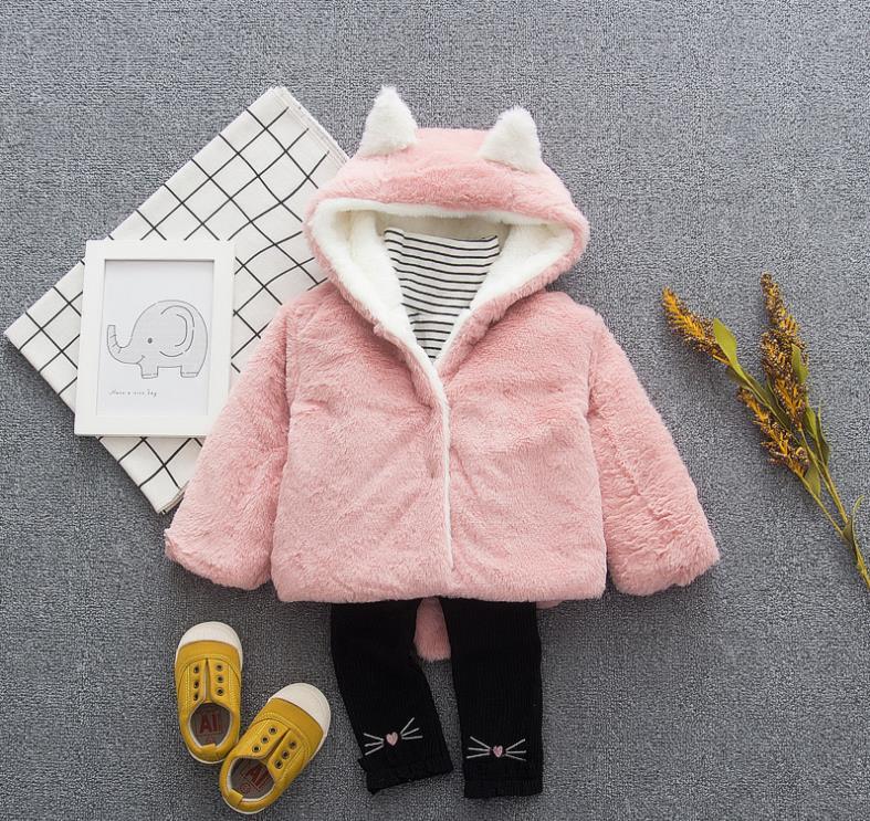 New Autumn Winter Baby Toddler Cardigan Casaco Cute Ear Fleece Unisex Warm Coat Outerwear Soft Hooded Warm Cloak Infant Jacket