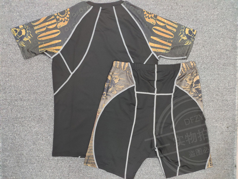 Masculino mma compressão ginásio terno esporte camisa
