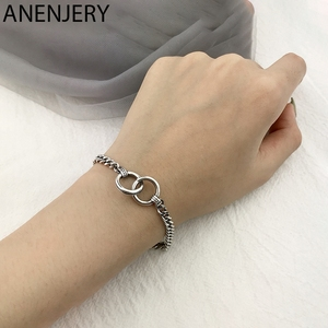 ANENJERY Summer New Fashion Double Circle Bracelet Handmade Thick Chain Men Women Couple Bracelet Hip Hop Jewelry S-B413