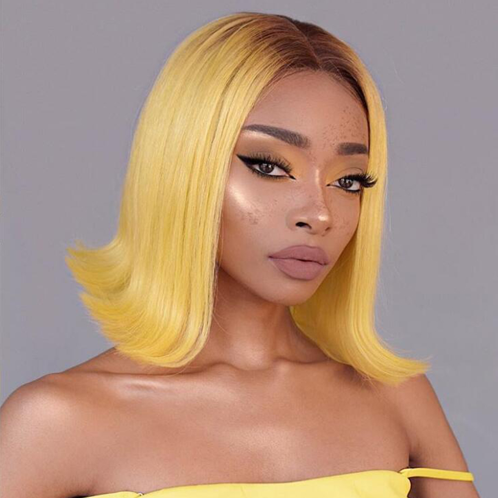 Yellow Straight Short Lace Human Hair Wigs Bob Wigs For Black Women Brazilian Middle Part Lace Wig