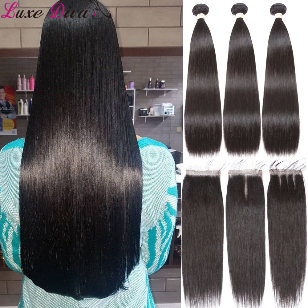 Straight Bundles With Closure Brazilian Hair Weave Bundles With Closure Luxediva Human Hair Bundles With Lace Closure Extensions