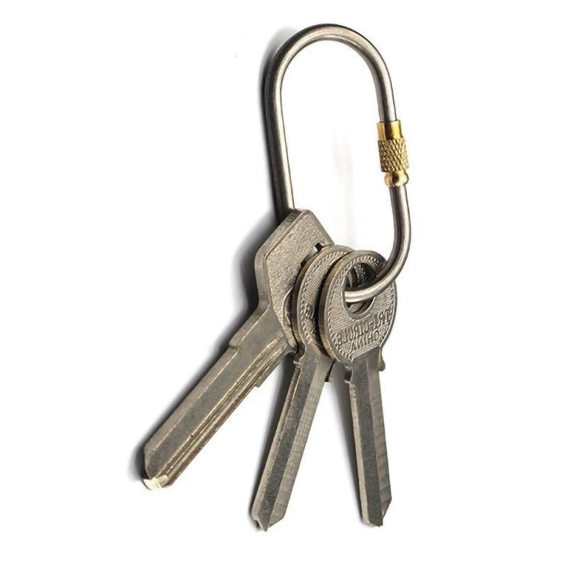 New Portable Titanium Alloy D-ring Carabiner Clip Hook Hiking Buckle Screw Locking Car Key Holder Outdoor Travel EDC Tool