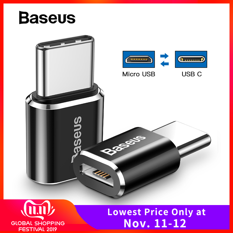 Baseus OTG Adapter USB C Male To Micro USB Female Type C Connector For Xiaomi Mi 9t Oneplus 7 Huawei Mate 20 P30 Pro Converter