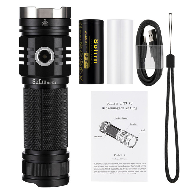 Sofirn SP33V3.0 3500lm Powerful LED Flashlight  Type C USB Rechargeable Torch Light Cree XHP50.2 with Power Indicator 5