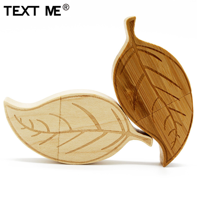 TEXT ME Maple Wood Carbonized Bamboo Leaves Style Usb Flash Drive Pen Drive 4GB 8GB 16GB 32GB 64GB Usb2.0 Pendrive