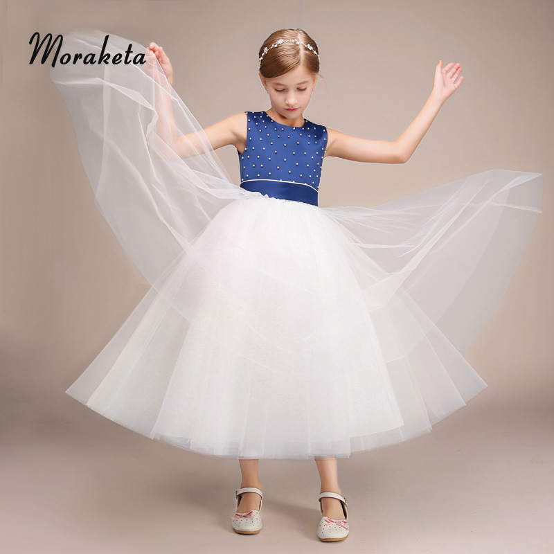 Ball Gown Tea-length Princess Blue And White Tulle Flower Girl Dresses For Wedding Beading Satin Long Junior Bridesmaid Dresses