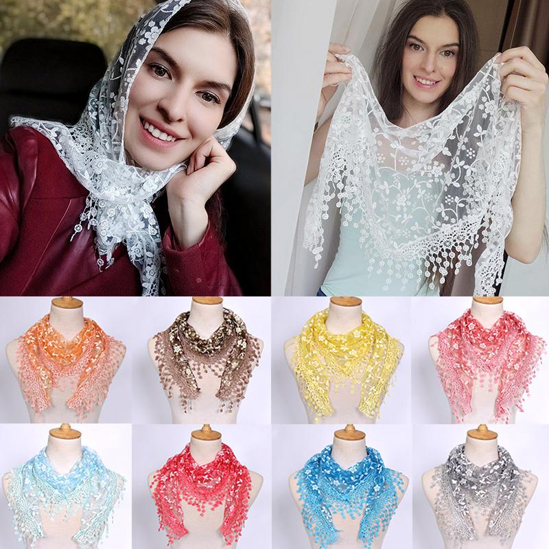 Fringes Shawl Female Scarf Women Tassel Shawls Scarves Hollow Out Silk Hijab Women Flower Lace Pendant Scarf Wrap