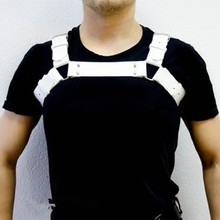 PU Leather Tops Men Harness Erotic Bondage Night Clubwear Gay Shoulder Body Chest Muscle Harness Belt Straps Hombre Costumes