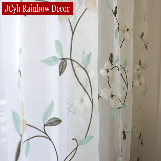 Floral Embroidered Tulle Curtains 5